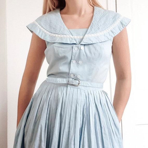 Sky Blue Sailor Cotton Dress