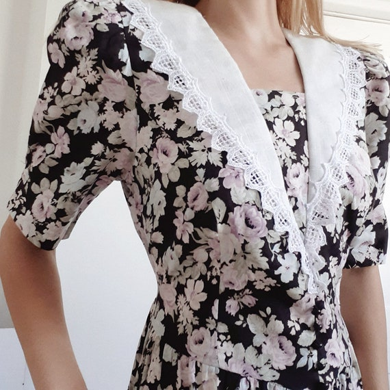 Black Floral 80s Puff Sleeve Dress
