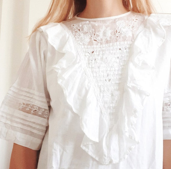 White Cotton Frill Blouse