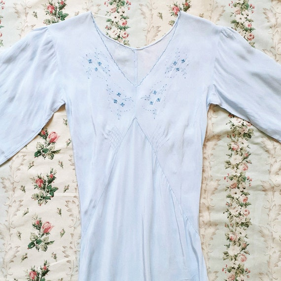 40s Embroidered Blue Dress