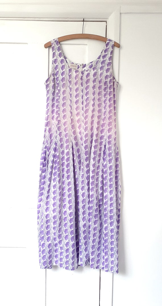 Anokhi Lilac Indian Block Print Dress