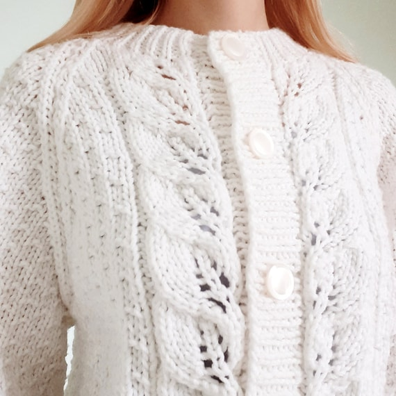 White Knitted Cardigan with Balloon Sleeves
