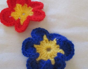 set of two crocheted wool flowers