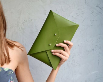Green leather envelope clutch