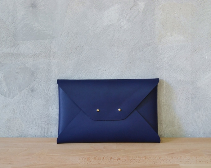 Featured listing image: Navy blue leather clutch bag