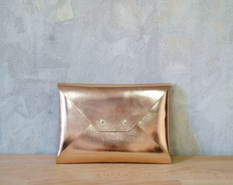 7b2aeabae85 Rose gold leather clutch bag / Copper envelope clutch / Leather bag /  Genuine leather / Bridesmaids clutch