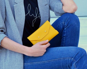 Yellow leather mini clutch / Yellow leather wallet / Yellow envelope clutch / Yellow leather iphone case /  Leather pouch / Makeup bag