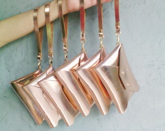 Bridesmaid gift set - Rose gold leather mini clutches with wrist straps