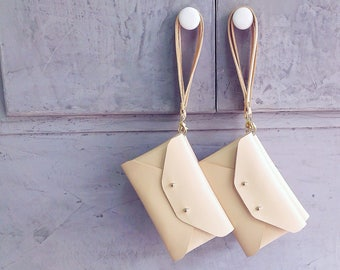 Bridesmaid gift set - Nude leather clutches with wrist straps
