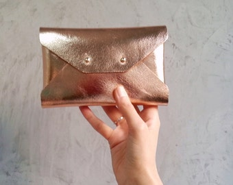 Rose gold leather mini clutch / Rose gold leather wallet / Envelope pouch / Bridesmaid gift / Bridesmaid pouch / Makeup bag