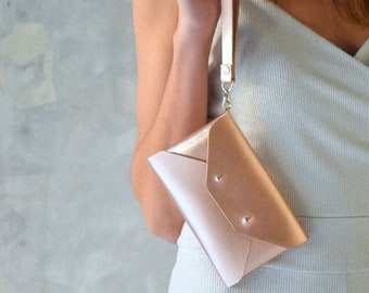 Rose gold leather mini clutch