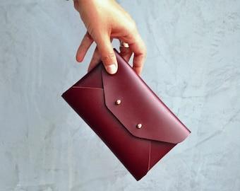 Bordeaux leather mini clutch