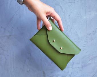 Green leather mini clutch