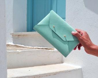 Aqua green leather clutch bag