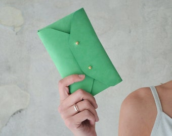 Seafoam green leather mini clutch