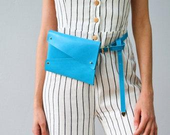 Deep aqua blue leather belt bag