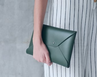 Dark green leather envelope clutch