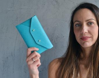 Deep aqua blue leather mini clutch