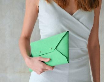 Seafoam leather clutch bag