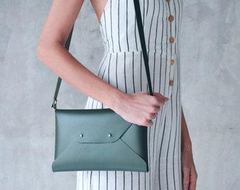 Dark green leather envelope clutch