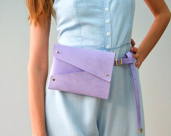 Purple leather belt bag