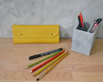 Mustard yellow leather pencil case