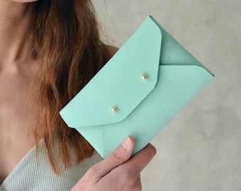 Aqua green leather mini clutch