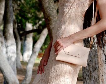Nude leather clutch bag