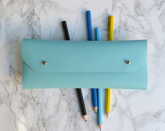 Turquoise leather pencil case