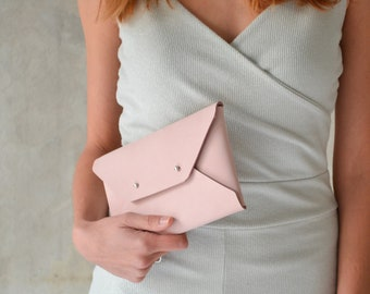 Light pink-nude leather clutch bag