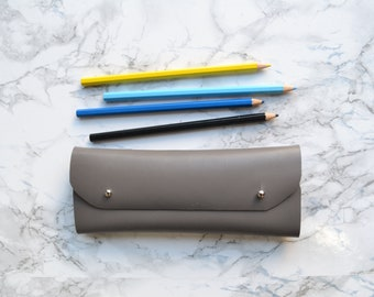 Gray leather pencil case