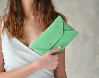 Seafoam green leather clutch bag