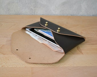 Dark brown leather mini clutch, available with a wristlet