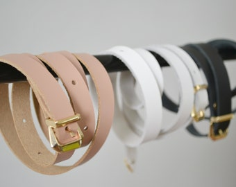 Thin leather belt for women