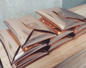 Bridesmaid gift set - Rose gold leather clutches
