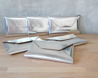 Bridesmaid gift set - Silver leather clutches
