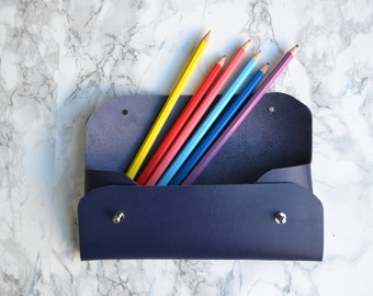 Navy blue leather pencil case