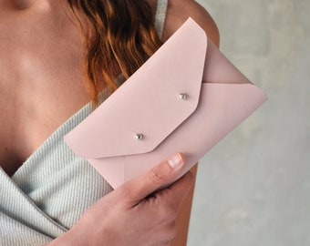 Light pink - nude leather mini clutch