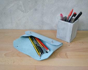 Light blue leather pencil case