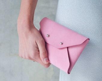 Hot pink leather mini clutch