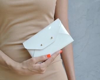 Patent white leather mini clutch