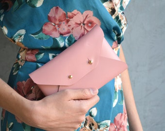 Dusty pink leather mini clutch