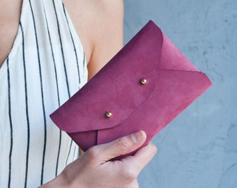 Burgundy leather mini clutch