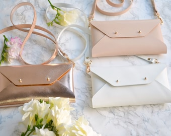 Bridesmaid gift set - Lleather clutches - Set of 10-12 bags