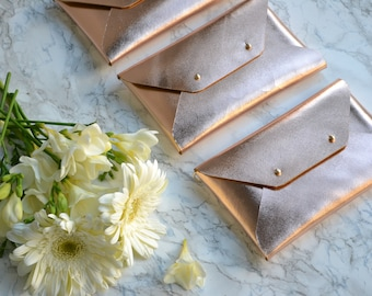 Bridesmaid gift set - Rose gold leather clutches - Set of 10-12 bags