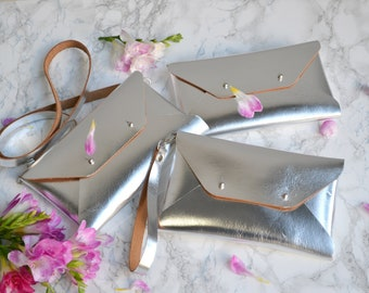 Bridesmaid gift set - Silver leather clutches - Set of 10-12 bags