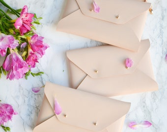 Bridesmaid gift set - Nude leather clutches - Set of 10-12 bags