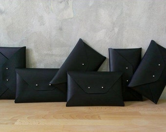 Bridesmaid gift set - Black leather clutches
