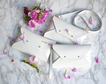 Bridesmaid gift set - Off white leather clutches - Set of 7-9 clutches