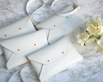 Bridesmaid gift set - White leather clutches - Set of 4-6 clutches